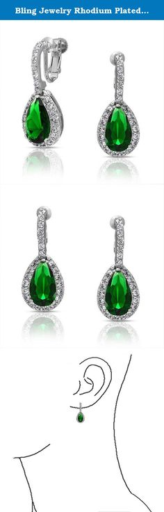 Bling Jewelry Rhodium Plated Brass CZ Teardrop Bridal Earring. Wear these gorgeous color cz earrings with any evening ensemble the next time you celebrate a special occasion. Our simply stunning fashion earrings make a fabulous fashion statement. Make an impression when you walk into the room wearing these delightful drop earrings. Cz clip on earring jewelry makes a great gift idea. The big CZ teardrop at the bottom of the clip on earring measures 15mm by 8mm and will add the perfect pop…
