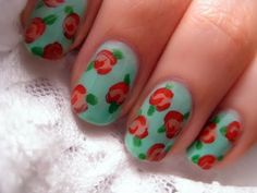 Easy Vintage Rose Nail Art