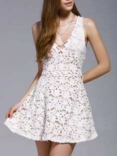 Alluring Women\'s Plunging Neck Sleeveless White Lace Cut Out Dress #White_Lace #Summer_Dresses