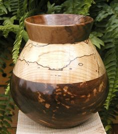 Curly black walnut & curly spalted Maple hollow wooden vase, so pretty!
