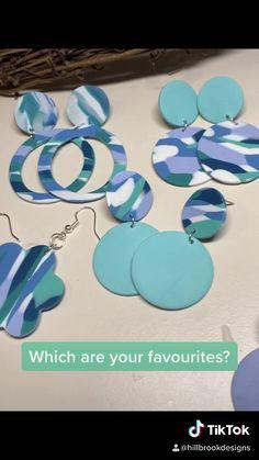 Polymer Clay Ornaments, Cute Polymer Clay, Polymer Clay Projects, Polymer Clay Creations, Polymer Clay Jewelry, Diy Clay Earrings, Blue Earrings, Clay Design, Crafty