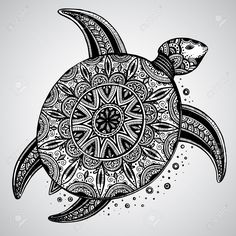 Zentangle Animals Hand Drawn Vector Monochrome Doodle Turtle Decorated With Oriental. Design Ideas Inspirations - Hand drawn vector monochrome doodle turtle decorated with oriental Mandala Art, Mandalas Painting, Mandalas Drawing, Mandala Turtle, Doodle Art Drawing, Zentangle Drawings, Zentangle Patterns, Zentangles, Zentangle Animal
