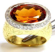 18k yellow gold SeidenGang Maderia citrine diamond .50ct ring Bezel set 13.6g  #SeidenGang #Band