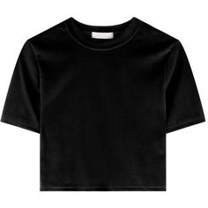 Cropped Velvet T-Shirt ($19) ❤ liked on Polyvore featuring tops, t-shirts, shirts, crop tops, blusas, slim fit short sleeve shirts, holiday tops, sexy crop top, crop top and short sleeve tops