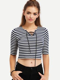 Shop Black White Striped Lace Up T-shirt online. SheIn offers Black White Striped Lace Up T-shirt & more to fit your fashionable needs.