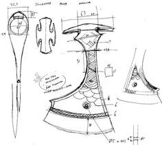 Construction clues from artifacts - History - Bladesmith's Forum Board Viking Axe, Viking Sword, Viking Warrior, Wood Axe, Forging Knives, Famous Tattoo Artists, Knife Patterns, Homemade Weapons, Beil