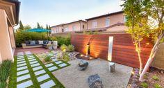 Pavers Modern Wood Fence, zen stones