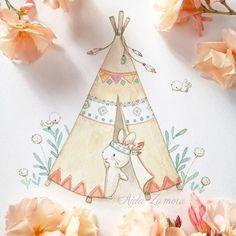 Tribal Woodland Animals Nursery Prints Set of 4 Tribal Bunny Drawing, Bunny Art, Baby Decor, Kids Decor, Cute Illustration, Watercolor Illustration, Watercolor Animals, Watercolor Paintings, Baby Food Jar Crafts