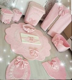 This Pin was discovered by Zey Korean floor cushion and pillo Pink Bathroom Accessories, Baby Accessories, Shabby Chic Pink, Shabby Chic Decor, Baby Crafts, Diy And Crafts, Vs Pink, Bathroom Crafts, Bathroom Mat