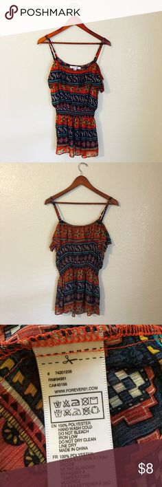 Sheer Boho Top Paisley Print• Spaghetti Strap• Ruffle Bottom•Great Condition •Washing Instructions and Materials are in Pic Above Tops