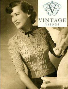 INSTANT DOWNLOAD-1940s wartime ladies lily of the valley jumper vintage knitting pattern-pdf email delivery