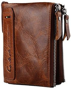 3e2479c854 Lareinea Men Genuine Leather Cowhide Zip Wallet Vintage Bifold with Double  Zipper Pockets (Brown)