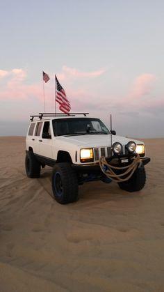 jeep xj on the beach
