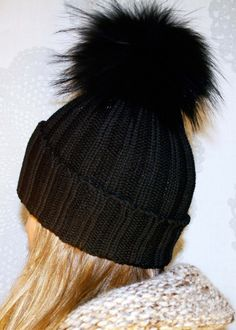 Luxury Ribbed Knit Wool Hat with Oversized Fur Pom Pom by LindoF 86b10bbf7e4