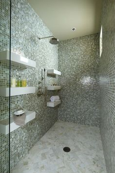 Contemporary Full Bathroom with Rocky Point Tile Beach Break Aqua Hand Painted Glass Mosaic Tiles, Rain Shower Head
