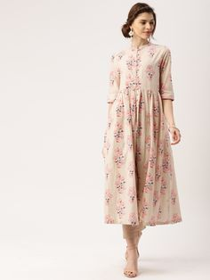 All About You Beige Floral Printed Cotton High-Slit Kurta