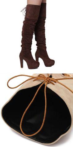 Boots Logo Women Lace Up Winter High Heel Platform Over The Knee 2