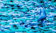 People take part in an installation titled Sea of Hull by artist Spencer Tunick Spencer Tunick Photos, Kingston, Yorkshire City, Cool Pictures, Cool Photos, Blue Bodies, Poses, Land Art, Erotic Art