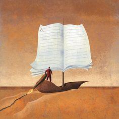 Navegando con la escritura (ilustración de Roberto Weigand)
