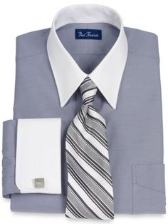 Paul fredrick mens cotton end on end straight Straight collar dress shirt