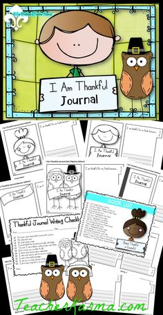 I Am Thankful Journals ~ Interactive writing prompts to encourage students to be thankful and grateful.  These writing journals are perfect for Thanksgiving and Christmas. TeacherKarma.com #journal #Thanksgiving
