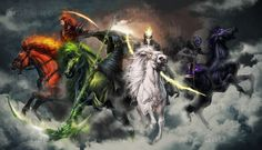Four Horsemen of the Apocalypse by Ilona Tsymbal tira-owl] Four Horsemen Of The Apocalypse Tattoo, Les Quatre Cavaliers, Archangel Michael Tattoo, Four Horses, Apocalypse Art, Arte Horror, Angels And Demons, Grim Reaper, Fantasy Artwork