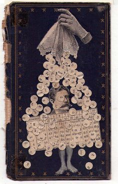 """By Frederico Hurtado. Artist and architect Federico Hurtado (b. 1961, Buenos Aires) lives and works in San Isidro, Argentina. Using old book covers as a canvas for his often wittily titled collages, he manually cuts and pastes images from late 1800s and early 1900s publications to create a wonderfully whimsical world of gentle hues and strange goings on. He also uses found objects to make assemblages of Joseph Cornell-like boxes and to create sculptures and """"constructions"""". (jam Blog)"""