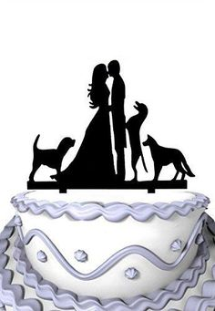 Meijiafei Wedding Cake Topper Groom and Bride Kissing with Three Dogs Silhouette Cake Topper