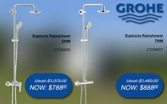 Grohe euphoria rainshower system @ SGD$788/$888 (OHM/THM 27536000) #grohe #bathroom #shower #promotions #singapore Shower Mixer Taps, Bathroom Gallery, Wind Turbine, Singapore, Promotion