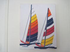 1970s Marushka Screen Print - SAILBOATS - vintage nautical wall hanging on Etsy, $58.00