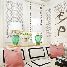Black and White Sofa, Eclectic, living room, Tobi Fairley