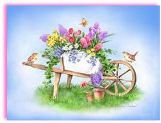 17 Best images about dekopaj (garden) Decoupage, Fabric Painting, Watercolor Paintings, Penny Parker, Spring Art, Spring Time, Fruit Art, Funny Art, Art Pictures