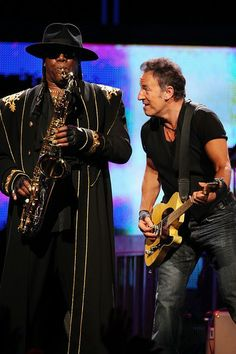 Bruce Springsteen and Clarence Clemmons and the E Street Band perform at the Los Angeles Sports Arena on April 16, 2009 in Los Angeles, California.