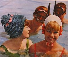 print ad for Kleinerts flowered bathing caps or swimcaps from Glamour magazine, May 1966