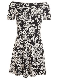 Bardot-Kleid mit Blumenmuster