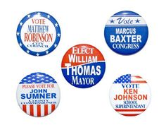 "8-PACK VOTE BUTTON Badge 2-1//4/"" RED WHITE /& BLUE Election Campaign Pinback NEW"