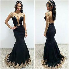 2017 Sexy Mermaid Lace Black Evening Dresses Vestido De Festa Deep ...