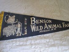 BENSON'S WILD ANIMAL FARM PENNANT - HUDSON , NH - I had one of these over 50 years ago...