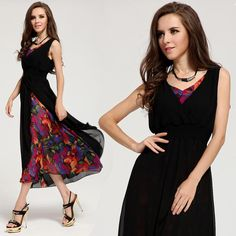 Chiffion print maxi vintage dress