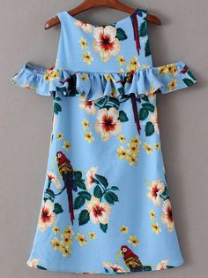 Blue Cold Shoulder Printed Ruffle Dress -SheIn(Sheinside) Mobile Site