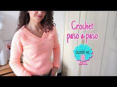 Suéter con canesú en V - todas las tallas - YouTube Tunic Blouse, Tunic Tops, Knitting Videos, Crochet Home, Crochet Clothes, Needlework, Pullover, Sewing, Sleeves