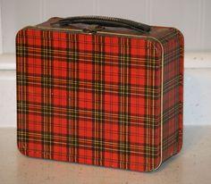 vintage plaid metal lunch box