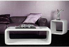 DELIFE Wohnzimmertisch Retro Lounge Space Hochglanz Weiss 120x60 cm