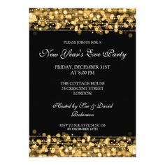 elegant new years eve party sparkles gold custom invite artwork designed by rewards4life 227