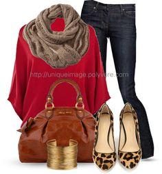 red/jean/leopard