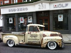 Sub-Zero Service Truck 1950 Chevy based at our London Showroom 251 Brompton Road, Knightsbridge, London. (available for any photo shoots)