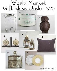 Angie's Gift Guide - Gifts Under $25 at @WorldMarket #worldmarket_bf ~ * THE COUNTRY CHIC COTTAGE (DIY, Home Decor, Crafts, Farmhouse)