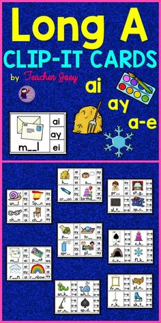 Long Vowels : Long Vowels 32 Cards ai : ay : a-e Clip-it Cards www.teacherjoey.com