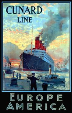 Cunard Line Europe America Ocean Liner - www.MadMenArt.com features over 500 Vintage Ocean Liner Ads, Posters and Magazine Covers from 1891 until 1970.