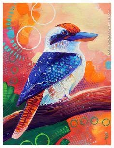 Kookaburra in Pink by TooMuchColor on DeviantArt Painted Pavers, Aboriginal Painting, Different Art Styles, Farm Art, Bird Artwork, Wolf, Expressive Art, Painting Inspiration, Tattoo Inspiration